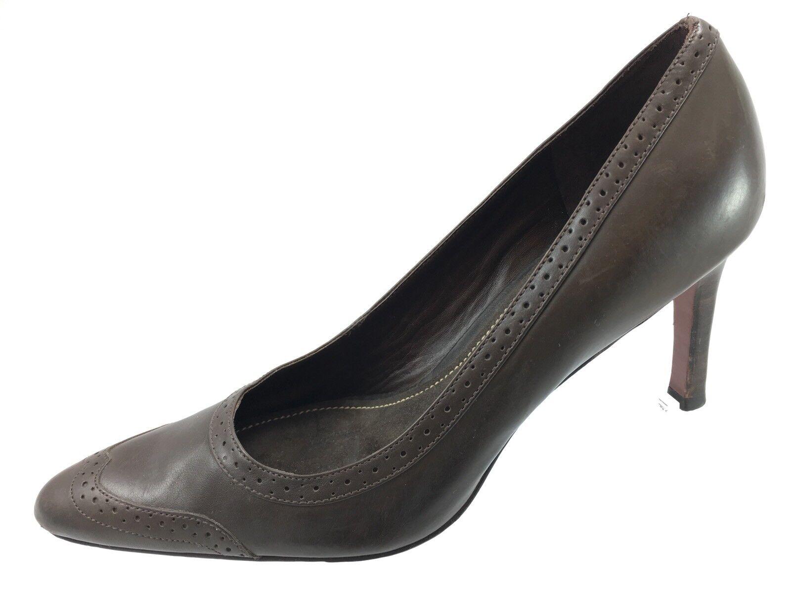 SH14 Lauren Ralph Lauren 7B Brown Leather Classic Pumps Heels Brogue Wingtip