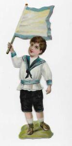 Victorian-BLUE-TRIM-FLAG-BOY-SAILOR-COSTUME-Die-cut-Scrap-Oblaten-4-5-034