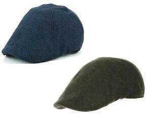 Mens Wool 6 Panel Preformed Shaped Peak Classic Style Flat Cap 2 ... d88c155251a