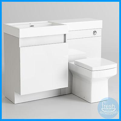 1206 x 880mm Basin & Toilet Vanity Unit | Square Combination Bathroom Suite WC