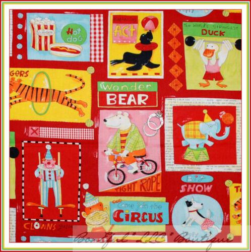 BonEful Fabric FQ Cotton Quilt VTG Red Nancy Wolff ANIMAL Baby Circus KId Monkey