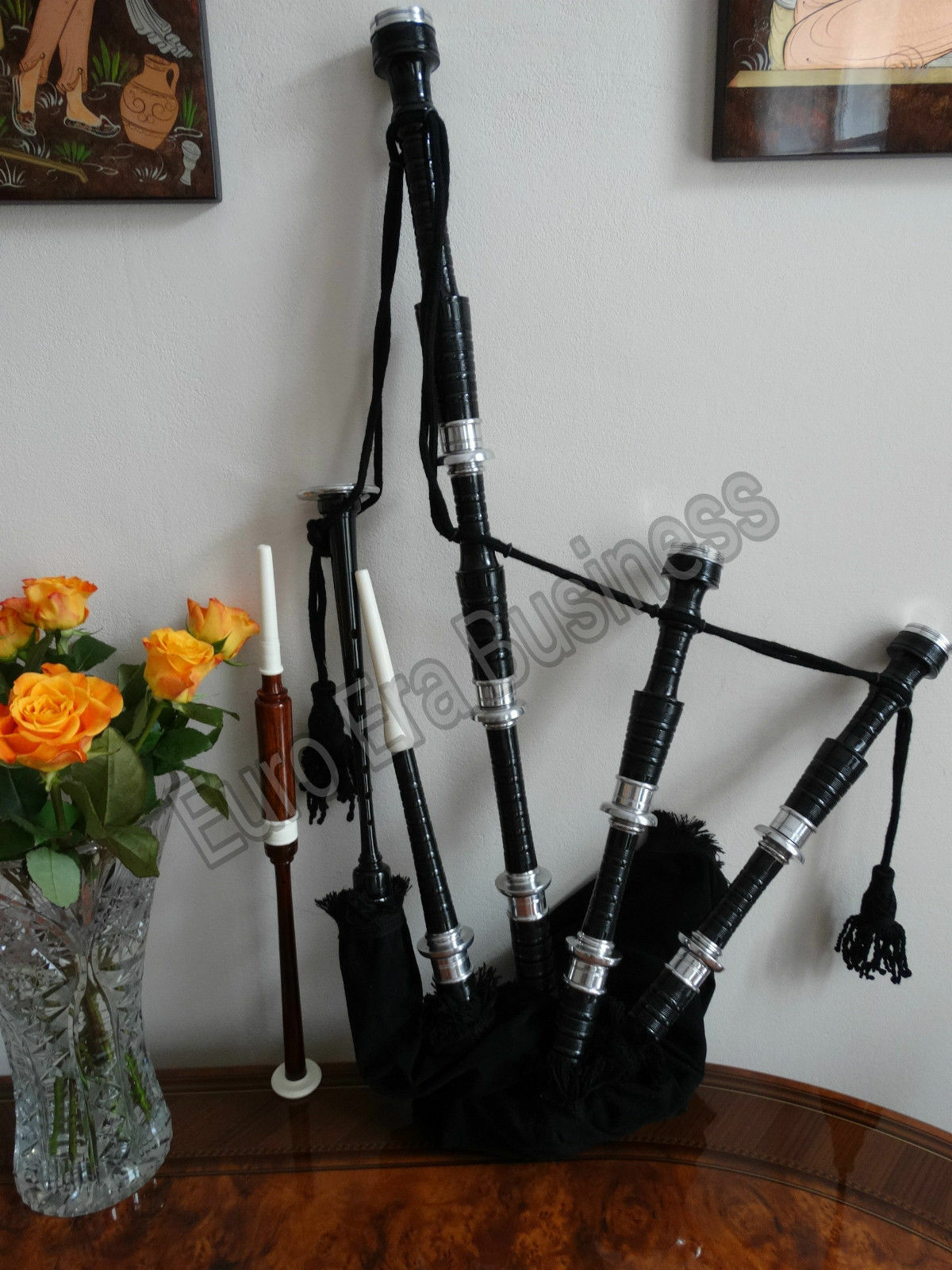 Scottish Bagpipes,Scottish Great Highland Bagpipe With Accessories By Euro Era
