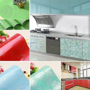 Gloss vinyl kitchen cupboard door cover self adhesive for Vinyl paper for kitchen cabinets