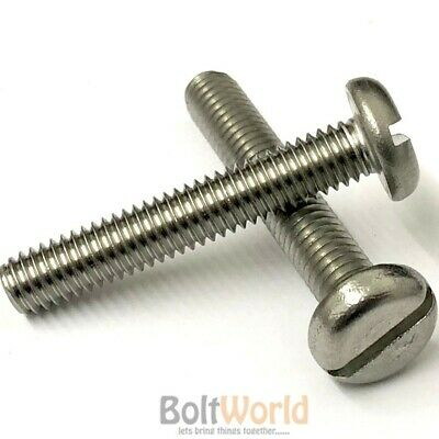 8mm x 50mm LONG SLOTTED PANHEAD MACHINE SCREWS THREADED M8 NEW PACK QUANTITY x 5