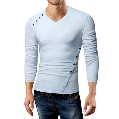 Fashion Mens Long Sleeve Button T-Shirt V-Neck Slim Fit T-Shirts Muscle Tee Tops