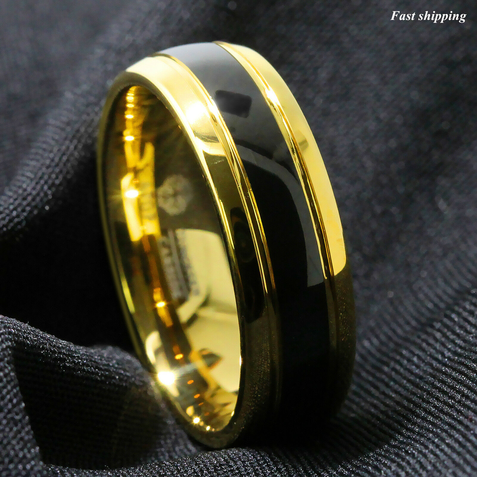 8mm Black Dome 18k Gold Tungsten Ring Wedding Band Bridal Atop