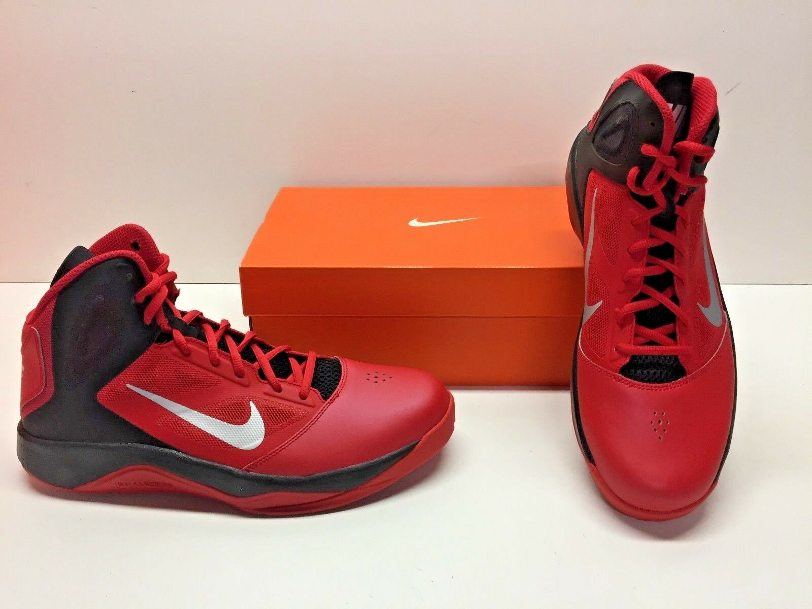 Nike Dual Fusion BB II Basketball Red Black High Top Sneakers Shoes Mens 10.5