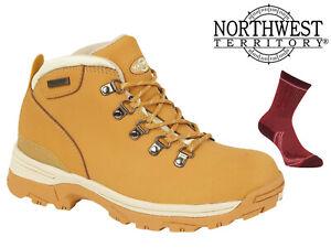 Womens-Waterproof-Hiking-Boots-NorthWest-Territory-Leather-Walking-Trek-Honey