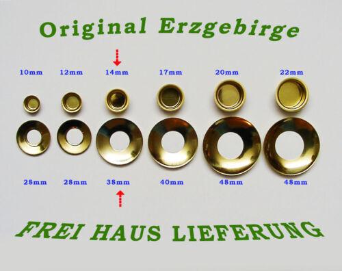 Kerzentüllen m.Tropfenfänger 14mm Messingoptik Kerzenhalter Erzgebirge