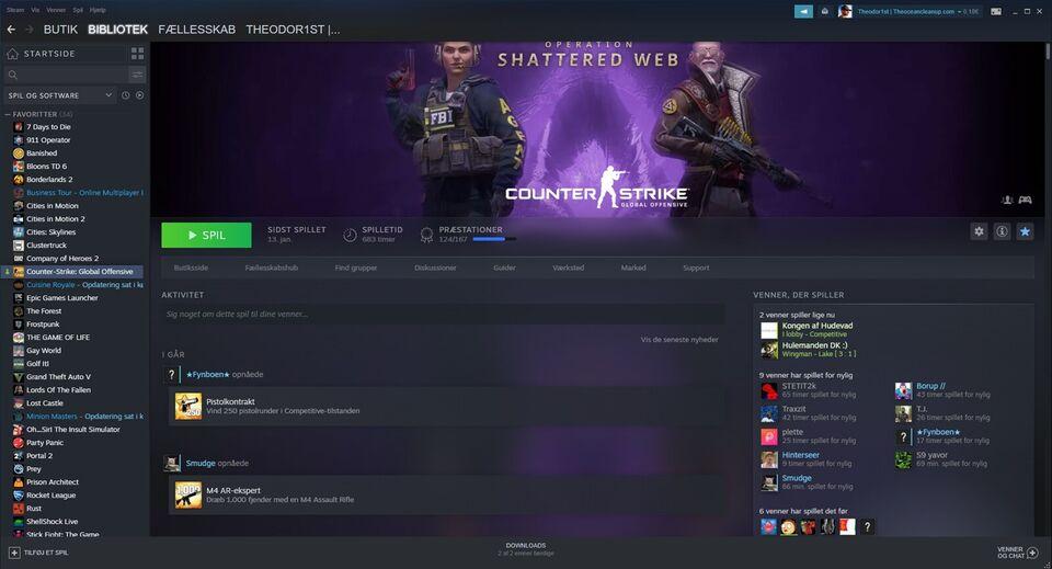 Salg af Stor Steam Account med mange kendte spil., til pc,