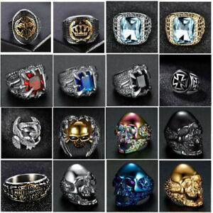 Silver-Gold-Stainless-Steel-Gothic-Punk-Biker-Rings-Fashion-Mens-Jewelry-8-15-US