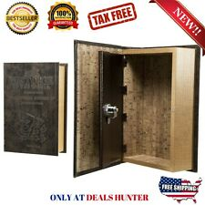 Book Safe Hidden Small Gun Compartment SECRET Money Jewelry Box Keys Lock Steel