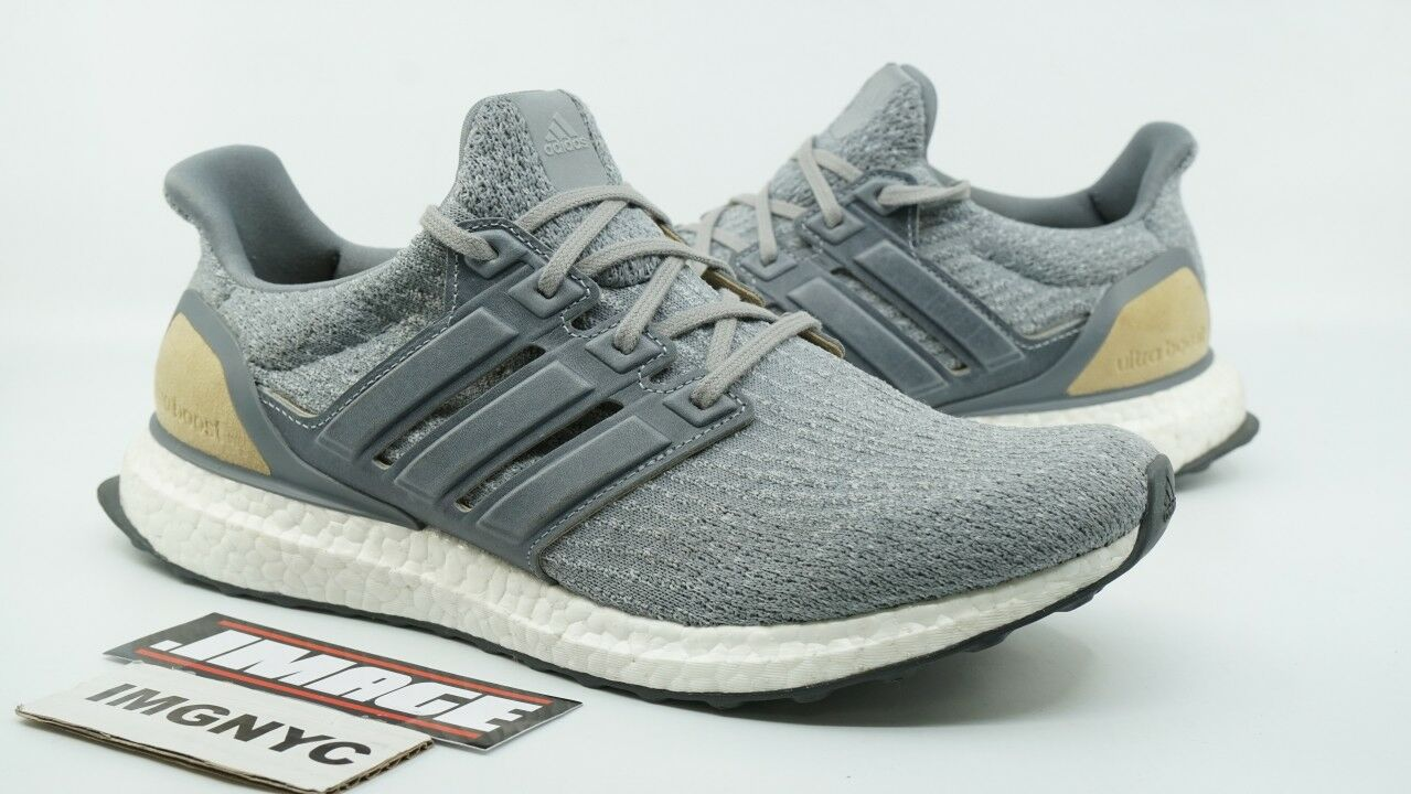ADIDAS ULTRA BOOST 3.0 LTD USED SIZE 9.5 GREY TAN LEATHER CAGE BB1092