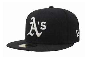 New Era 59Fifty Cap MLB Oakland Athletics Mens Black White Hat A's Big Size