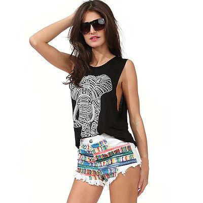 Women Sexy Casual Elephant Print Sleeveless O-neck Loose Tank Top Vest Cheap