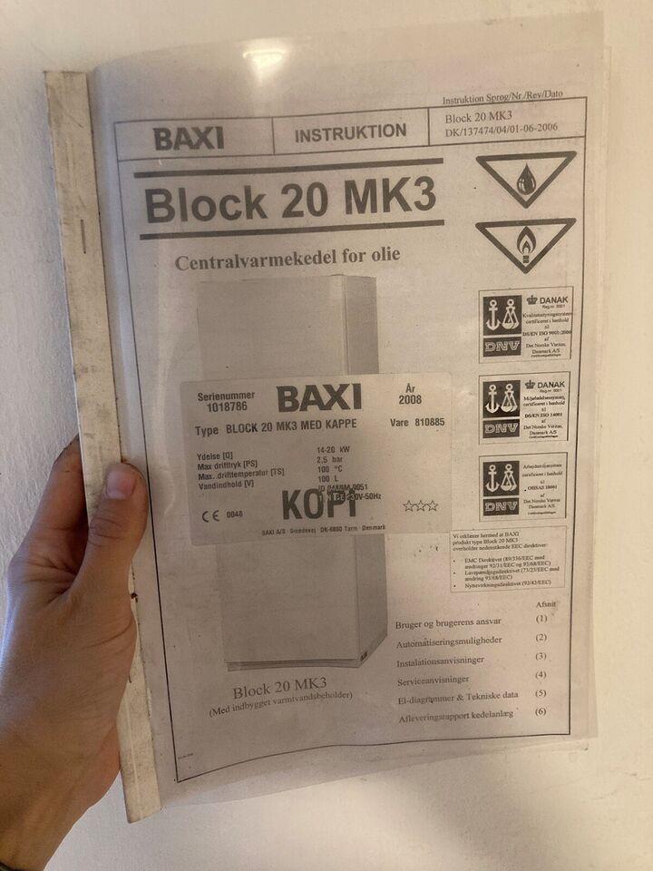 Oliefyr, Baxi Block 20 MK3 fra 2008
