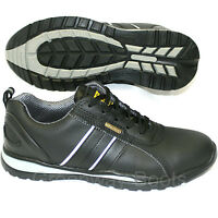 MENS BLACK LIGHTWEIGHT LEATHER STEEL TOE CAP SAFETY TRAINERS WORK SHOES BOOTS UK