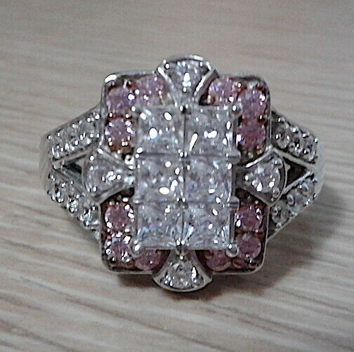 Pre-Owned Bella Luce Quad Ring Pink & White Round ...