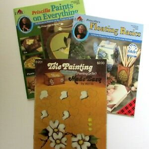 Lot-3-Tole-Painting-Books-Priscilla-Hauser-Plaid-9654-9488-Painting-on-Tin-6201