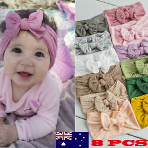 8PCS-New-Girls-Baby-Toddler-Solid-Headband-Hair-Band-Bow-Accessories-Headwear
