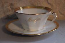 Ancienne tasse en porcelaine blanche - Liseré or avec prénom Michèle Limoges