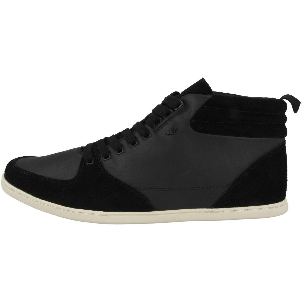Boxfresh Eplett SH Leather Schuhe Herren Mid Cut Freizeit Turnschuhe schwarz E15273