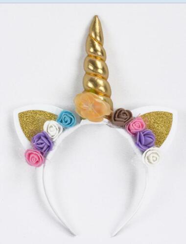 Rainbow Unicorn Horn Hair band Kids Chiffon Flower Headband Glitter for Party