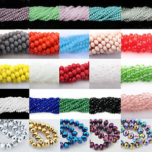 4-6-8-10MM-Wholesale-Colorful-Czech-Crystal-Rondelle-Faceted-Loose-Spacer-Beads