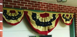 "American Flag Bunting Trio (about 117"" total width (Antiqued or Cream))"