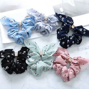 Korean-Style-Floral-Hair-Scrunchies-Bow-Knot-Elastic-Rope-Ring-Ponytail-Holder