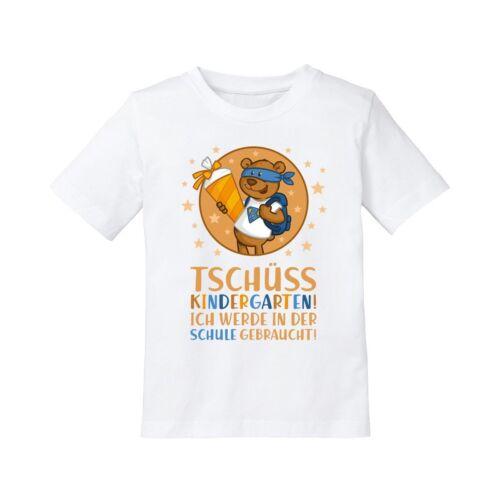 """Kinder T-Shirt Modell /""""Tschüss Kindergarten!/"""" Teddy Geschenk Einschulung"""