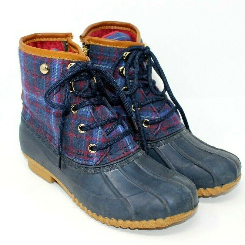 Tommy Hilfiger Duck Boots Blue w/ Plaid Upper
