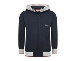 Boys-Hugo-Boss-J25962-849-Hooded-Zip-Top-Navy-Sweatshirt