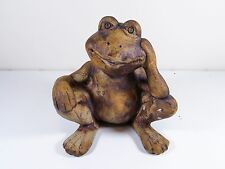 """GARDEN LAWN POND ORNAMENT STATUE """" BORED FROG """" POTTERY DISPLAY FIGURE"""