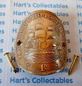 WALKING STICK BADGE GENUINE SOUTH AFRICA COPPER PENNY WITH LARGE SAILING SHIP