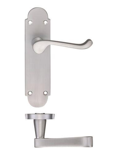 Oxford Internal Door Handles Lock Latch Euro Bathroom Sets Satin Chrome Plated