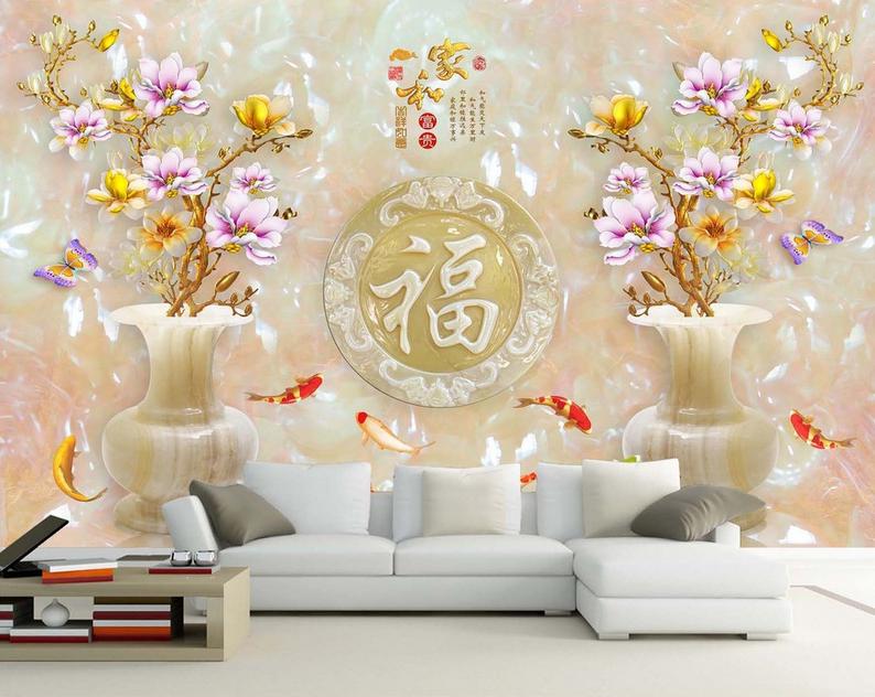 3D Flower Vase 554 Wallpaper Murals Wall Print Wallpaper Mural AJ WALL AU Lemon