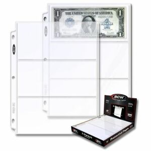 1-box-of-100-BCW-3-Pocket-Currency-Pages-Size-3-5-x-8-Paper-Money-Binder-Holders