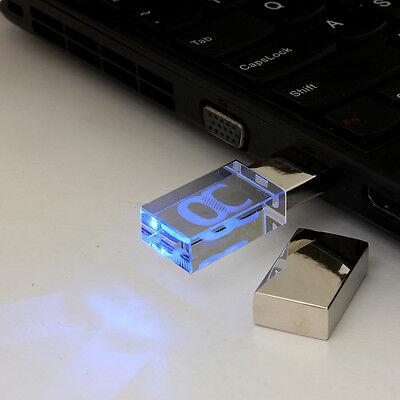 Blue Light 64GB USB Flash Stick Memory Drive Transparent Acrylic Storage Gift