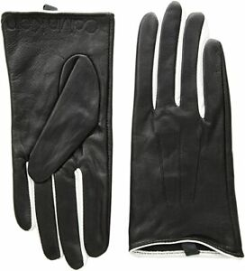 CALVIN-KLEIN-LADIE-039-S-LEATHER-GLOVES-BLACK-WHITE-SIZE-L-A8WG4940