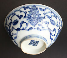 Chinese blue and white Porcelain Bowl scrolling Lotus Mark probably Ming Dynasty