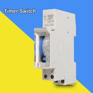 24-Hours-Mechanical-Programmable-Din-Rail-Timer-Switch-Relay-220V-AC-16A-New