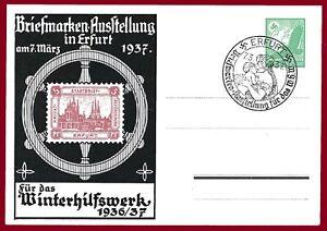 German WW 2 Third Reich postcard ERFURT STAMP EXHIBITION 1937
