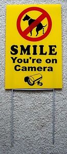 NO-DOG-POOP-SMILE-YOU-039-RE-ON-CAMERA-8-034-X12-034-Plastic-Coroplast-Sign-with-Stake-y