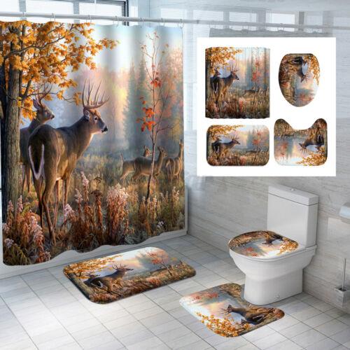 Autumn Forest Elk Shower Curtain Bath Toilet Seat Cover Mat Set Waterproof