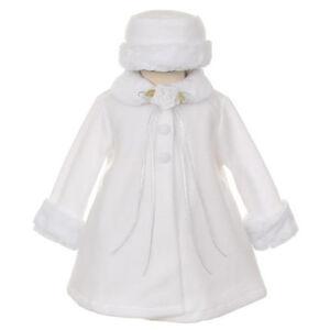 WHITE Cape Jacket Coat Communion Toddler Baby Fleece Fur Trim ...