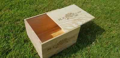 Razionale 1 X Box Vino In Legno Originale Con Coperchio Scorrevole-cesto Della Biancheria, Scatola Di Immagazzinaggio/card.-