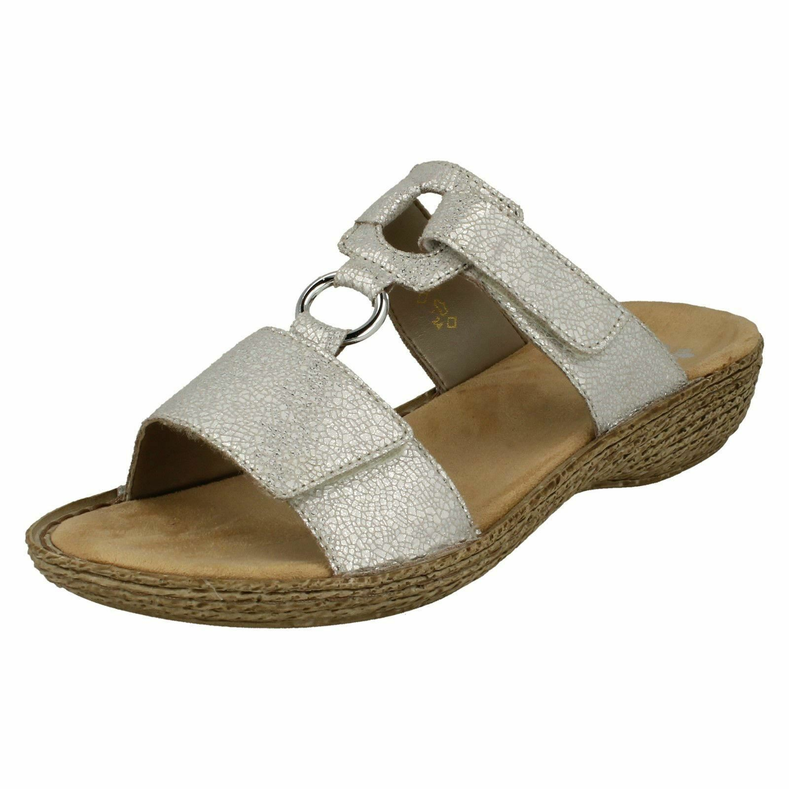 Ladies Rieker 658P9 Synthetic Strappy Mule Sandals
