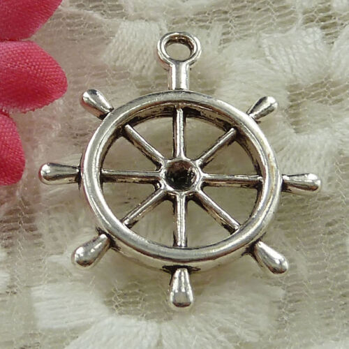 Free Ship 30 pieces Antique silver steering wheel charms 29x23mm #1506