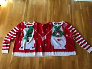 Ugly 2 Person Fun Party Christmas Sweater Double Elf Or Snowman